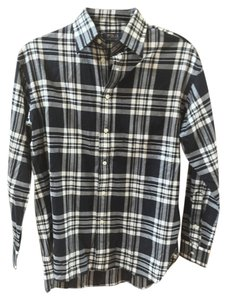 Polo Ralph Lauren Preppy Plaid Button Down Shirt Black & white