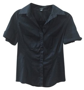 Ann Taylor Work Casual Formal Pretty Feminine Chic Button Down Shirt Black