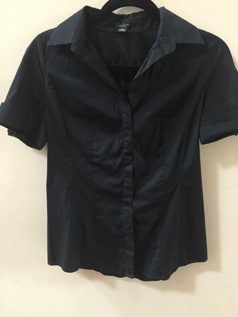 Ann Taylor Casual Formal Pretty Feminine Chic Button Down Shirt Black