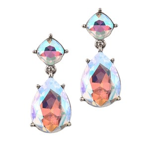Mariell Bridal Prom Or Bridesmaids Iridescent Ab Crystal Drop Earrings 4292e-ab-s
