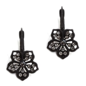 Mariell Black Diamond Filigree Flower Drop Earrings For Prom Or Bridesmaids 4301e-bd
