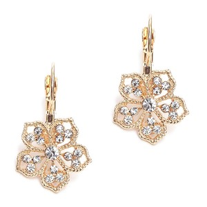 Mariell Crystal Gold Filigree Flower Drop Earrings For Prom Brides Or Bridesmaids 4301e-cr-g