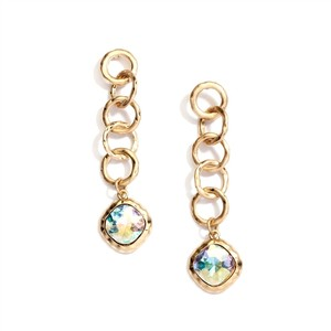 Mariell Bold Matte Gold Links Crystal Drop Earrings 4305e-ab-mg