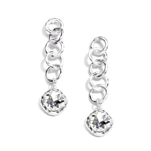 Mariell Bold Matte Silver Links Crystal Drop Earrings 4305e-cr-ms