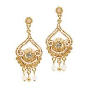 Mariell Ivory/Gold Inlaid Beads with Matte Fashion 4309e-sc-g Earrings