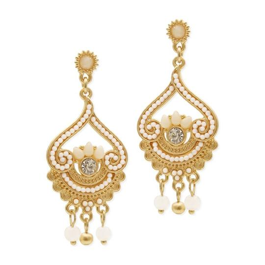 Mariell Inlaid Ivory Beads With Matte Gold Fashion Earrings 4309e-sc-g