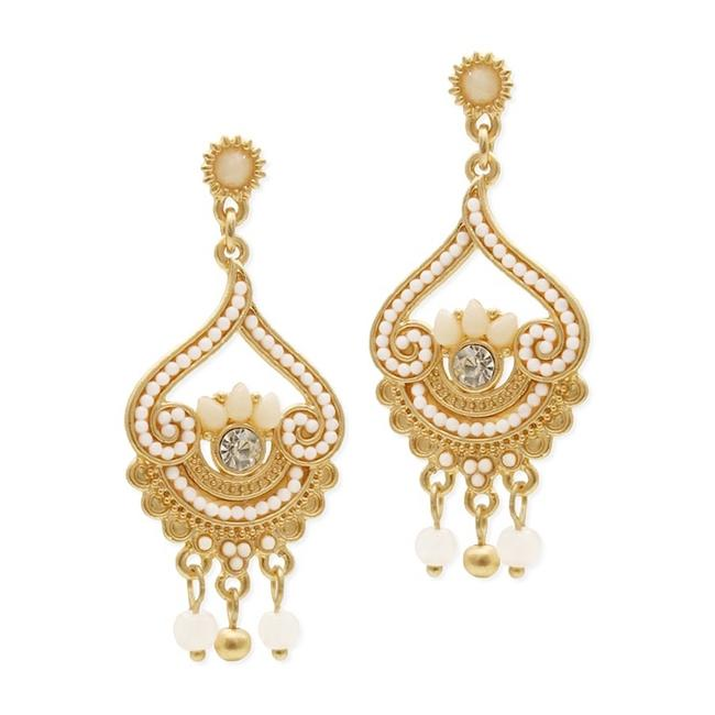 Item - Ivory/Gold Inlaid Beads with Matte Fashion 4309e-sc-g Earrings