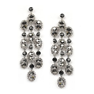 Mariell Dramatic Black And Hematite Shoulder Duster Earrings 4319e-jemu-s