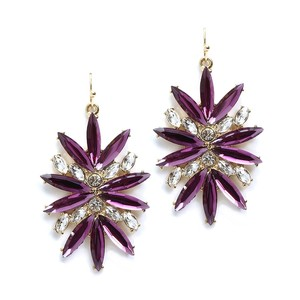 Mariell Purple Starburst Bling Earrings For Prom Or Homecoming 4294e-pu-g