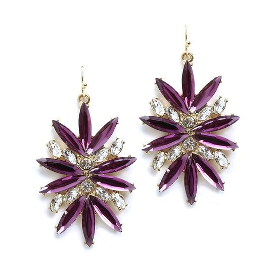 Mariell Purple Starburst Bling For Prom Or Homecoming 4294e-pu-g Earrings