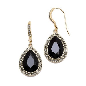 Mariell Top Selling Black Teardrop Earrings With Gold Pave Accents 4247e-je-g