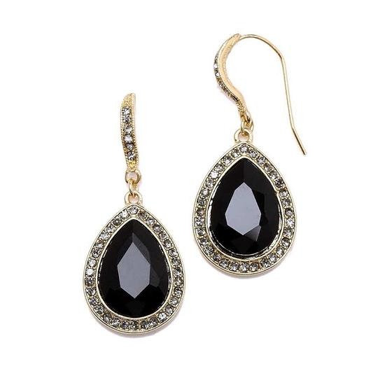 Mariell Black Top Selling Teardrop with Gold Pave Accents 4247e-je-g Earrings