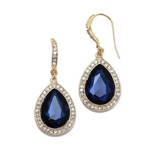 Mariell Top Selling Navy Blue Teardrop Earrings With Pave Accents 4247e-mn-g