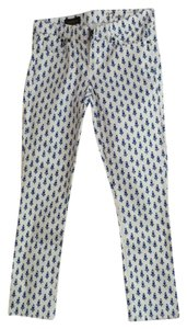 J.Crew Floral Skinny Skinny Pants Blue and White