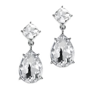 Mariell Silver Drop Earrings For Weddings Or Proms 4292e-cr-s