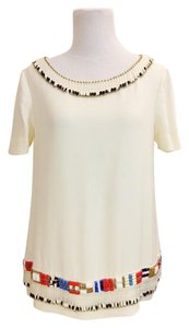 Tory Burch Beading Silk Tribal Top Ivory multi-colored beads