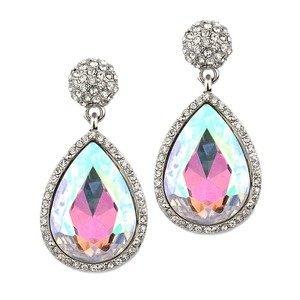 Mariell Micro Pave And Ab Teardrop Bridal & Prom Statement Earrings 4326e-ab-s