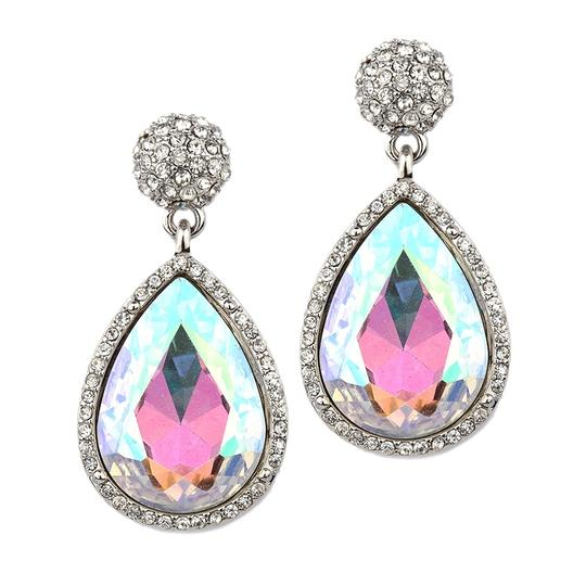 Mariell Silver Micro Pave and Ab Teardrop Prom Statement 4326e-ab-s Earrings