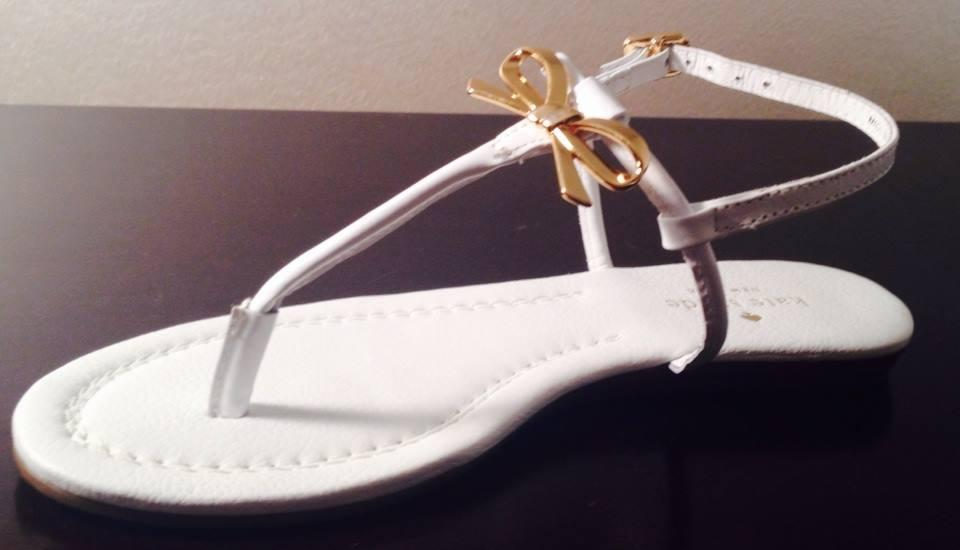 4fe777e1d85f Kate Spade White New York Tracie Bow Thong Sandals Flats Size US 6.5 ...