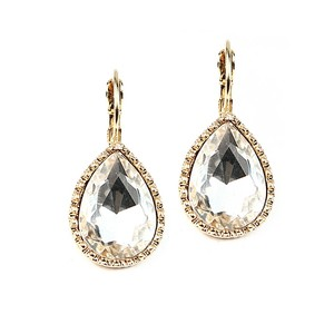 Mariell Textured Gold Framed Crystal Pear Euro Wire Earrings 4327e-g