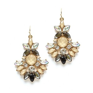 Mariell Beige Multi Marquis Statement Earrings 4333e-bg