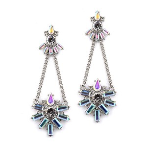 Mariell Multicolor Art Deco Chain with Iridescent Baguettes 4338e-ab-s Earrings