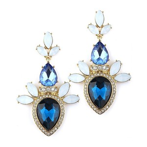 Mariell Pave Pear Blue Cluster Statement Earrings For Prom Or Bridesmaids 4340e-bl-g