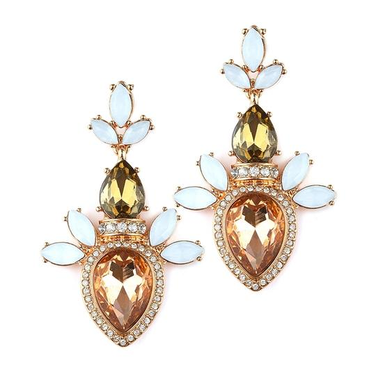 Mariell Pave Pear Champagne Cluster Statement Earrings For Prom Or Bridesmaids 4340e-ch-rg