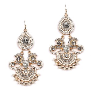 Gorgeous Gold Crystals & Pearls Statement Chandeliers Bridal Earrings