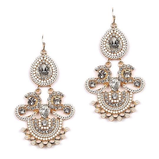 Gold Crystals Pearls Statement Chandeliers Earrings