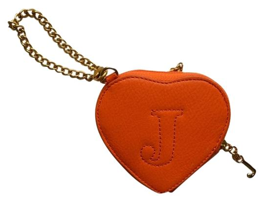 Juicy Couture Monogram Leather Accessory J Chain Gold Stitched Wristlet in Orange