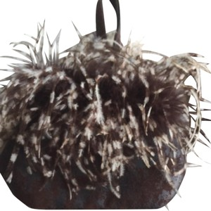 Goldyfish Purses Brown w/ Brown/white Feathers Clutch