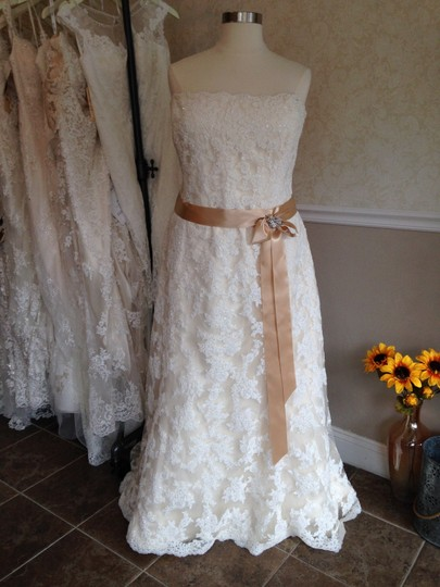 Maggie Sottero Ivory Over Gold Lace Karena Royale Feminine Dress Size 26 (Plus 3x)