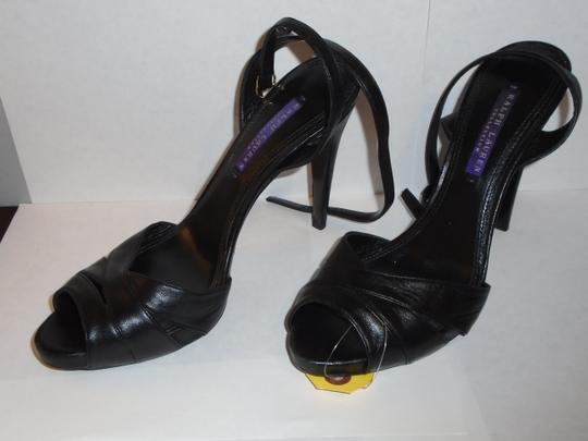 Ralph Lauren Blue Label Made In Italy Never Worn Black Leather Platforms