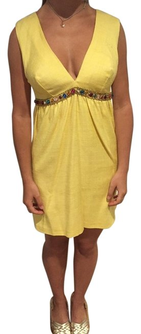 Preload https://item5.tradesy.com/images/melissa-odabash-yellow-multi-color-beading-knee-length-cocktail-dress-size-4-s-3353599-0-2.jpg?width=400&height=650