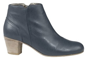 Rebecca Taylor Leather Wooden Heel Bow Designer Gray Boots
