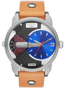 Diesel Diesel Mini Daddy DZ7308 Leather Strap Black Blue Dial Mens Watch