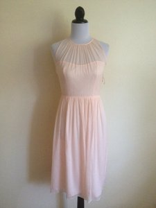J.Crew Peach Silk Chiffon Megan Pink Modern Bridesmaid/Mob Dress Size 2 (XS)