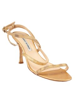 Manolo Blahnik Lizard Leather Heels Tan Sandals