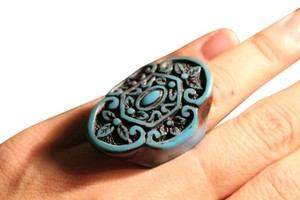Other Baroque Turquoise Statement Ring Size 7 Scarf Ring