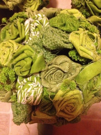 Green 3 Fabric Flower Bouquets + Extras