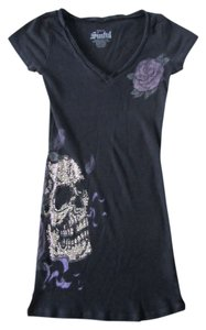 Sinful V Neck Skull Rhinestones Bling T Shirt black