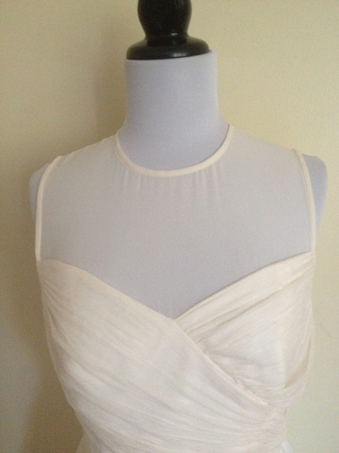 J.Crew Wedding Bride Bridesmaid Party Silk Chiffon Flowy Illusion Neckline Dress