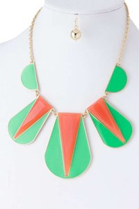 Unknown Green and Orange Acrylic Bib Necklace Set