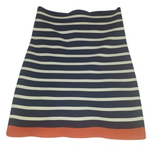 BCBGMAXAZRIA Mini Skirt Navy blue/white/orange