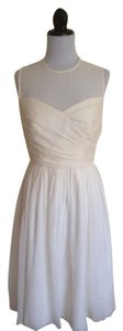 J.Crew Wedding Bride Bridesmaid Party Rehearsal Dinner Silk Chiffon Flowy Illusion Neck Dress