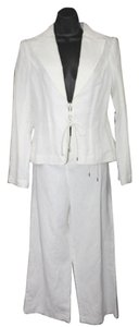 David Meister NWT DAVID MEISTER LACE UP 2-PC. WHITE LINEN COTTON BLEND PANT SUIT 8 **MSRP $690