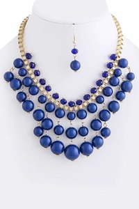 Unknown Blue Layered Bubble Bead Bib Necklace Set