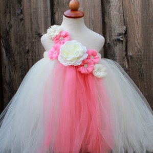 Custom Made Ivory Coral Flower Girl Dress - Infant - 8 Years - Coral Ivory Handmade Tutu Dress