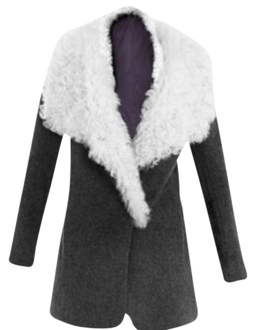 Item - Troyda Genuine Shearling Collar Gray Cashmere Blend Coat Size 4 (S)